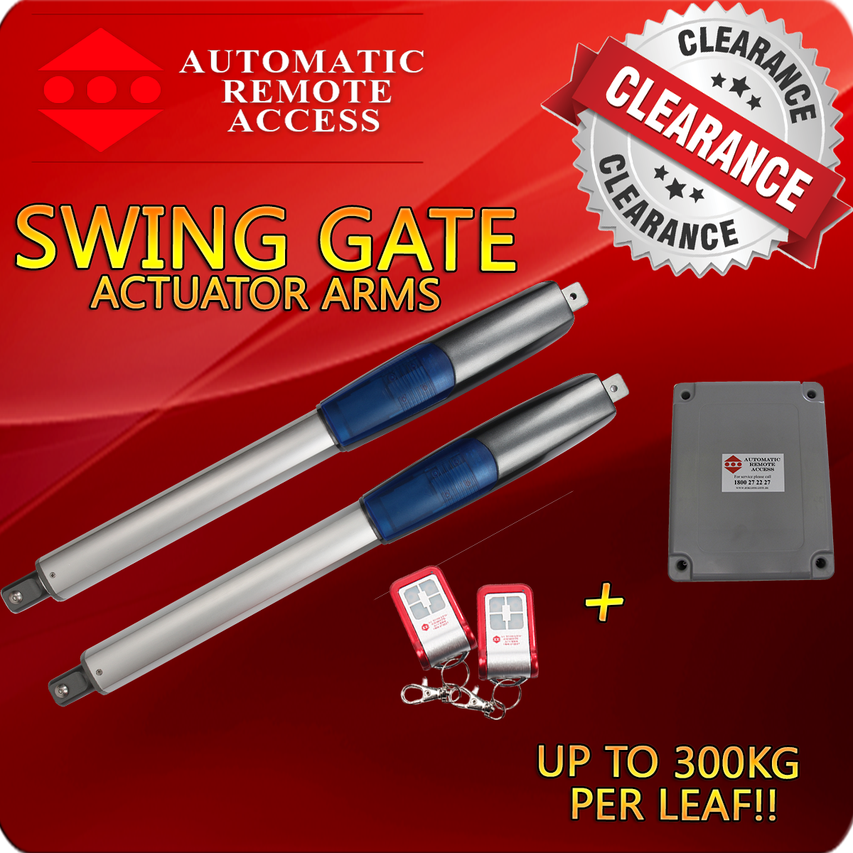 Actuator Driven Swing Gate Opener 2 X Remotes And 1 X